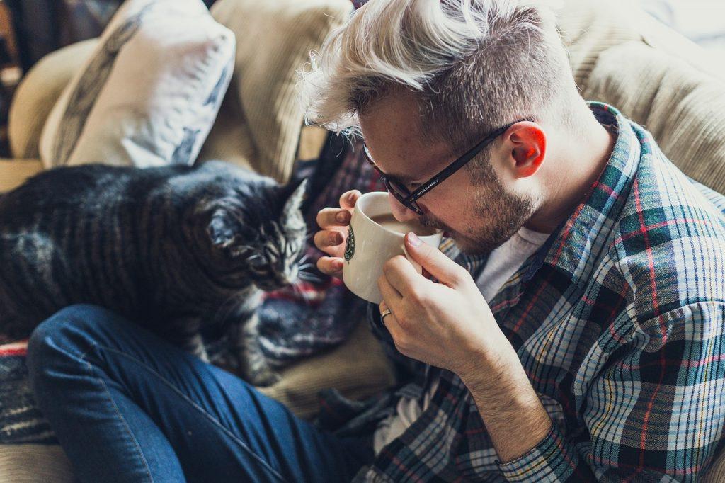 man-relax-cat-coffee